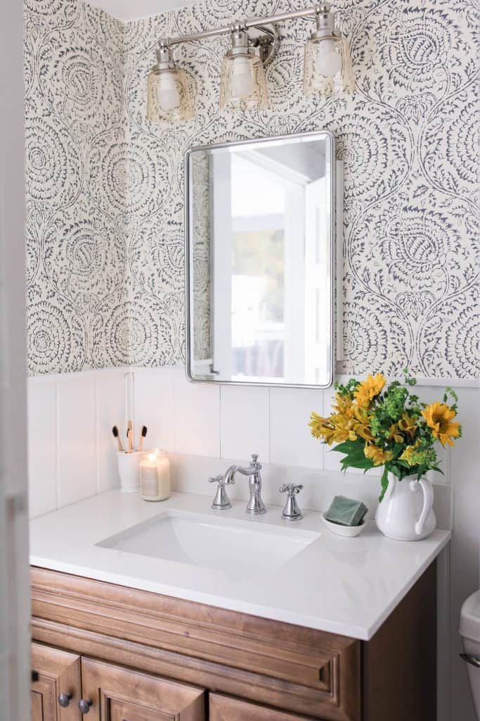 Modern Farmhouse Style Bathroom Makeover Reveal ... on Modern Farmhouse Bathroom Ideas  id=88500