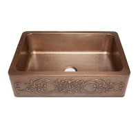 Sinkology SK303-33SC Farmhouse Ganku Farmhouse Copper Sink 33 In. Single Bowl Copper Kitchen Sink with Scroll Design