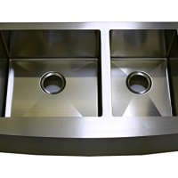 "Auric Sinks 36"" Farmhouse Curved Front Apron Double Bowl Sink, 16 Gauge Stainless Steel, 60 / 40 Split, 6:SCAR-16-36-6040"