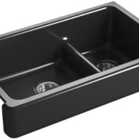 KOHLER K-6426-7 Whitehaven Smart Divide Self-Trimming Under-Mount Apron-Front Double-Bowl Kitchen Sink with Short Apron, 35-1/2-Inch X 21-9/16-Inch X 9-5/8-Inch, Black