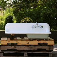 "Refinished 1938 Antique 42"" Farm Sink Crane Single Basin Wall Mount Cast Iron Porcelain Kitchen Sink Package"