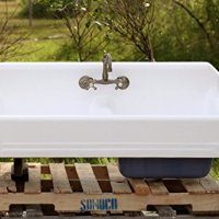 "1934 Large 51"" Refinished Double Farm Sink Deep Basin Apron Cast Iron Porcelain High Back Kitchen Sink Package, New Faucet & Drain"