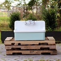 Vintage Style High Back Farm Sink Apron Kitchen Utility Sink Package Vitreous China Kohler Gilford - Green Blue