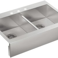 KOHLER K-3944-3-NA Vault Top-Mount Double-Equal Bowl Kitchen Sink with Shortened Apron-Front for 36-Inch Cabinet and 3 Faucet Holes, Stainless Steel