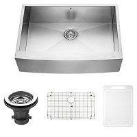 VIGO 33 inch Farmhouse Apron Single Bowl 16 Gauge Stainless Steel Kitchen Sink with Grid and Strainer