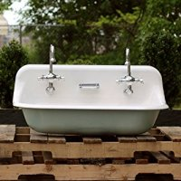 "36"" Antique Inspired Kohler Brockway Farm Sink Green Blue Cast Iron Porcelain Trough Sink"
