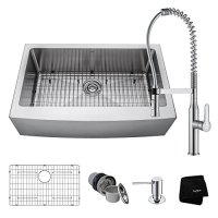 Kraus KHF200 1650-41CH Combo with 33 inch Single Bowl 16 Gauge Stainless Steel Farmhouse Sink and Nola Commercial Kitchen Faucet with Soap Dispenser, Chrome