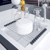 Kitchen Dish Drying Rack Over The Sink Drainer Sink Caddy - Dish Rack Sink Rack Roll Up - Sink Shelf Racks Roll Shelf Organizer - Stainless Steel