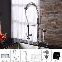Kraus KHF200-30-KPF2150-SD20 Farmhouse Single Bowl Stainless Steel Kitchen Sink with Faucet & Soap Dispenser