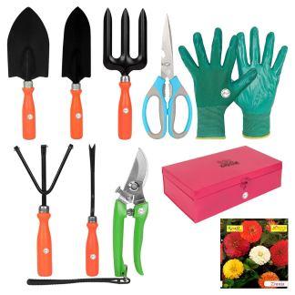 Kraft Seeds! Super Gardening Tools Set Metal Box – 2020   In this Gardening Tools Set 1 pc each of Garden Small Trowel, Big Trowel, Cultivator, Iweeder and Fork with Pruners & Scissor and Hand Gloves.