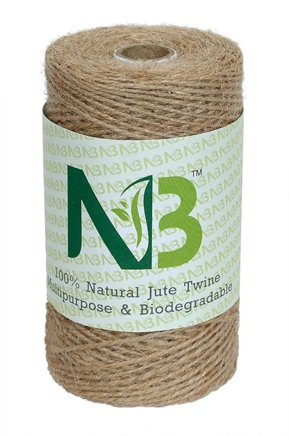 NSB01 2-Ply Strong Natural Jute Twine String Rope Roll, 820 ft/250 m