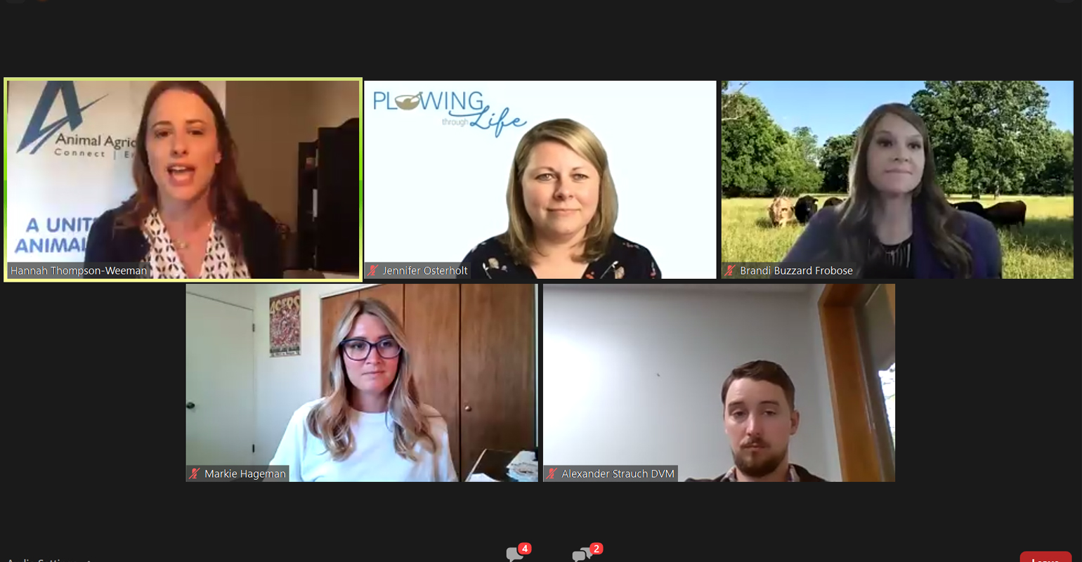 A panel of social media influencers  during the virtual Animal Agriculture Alliance