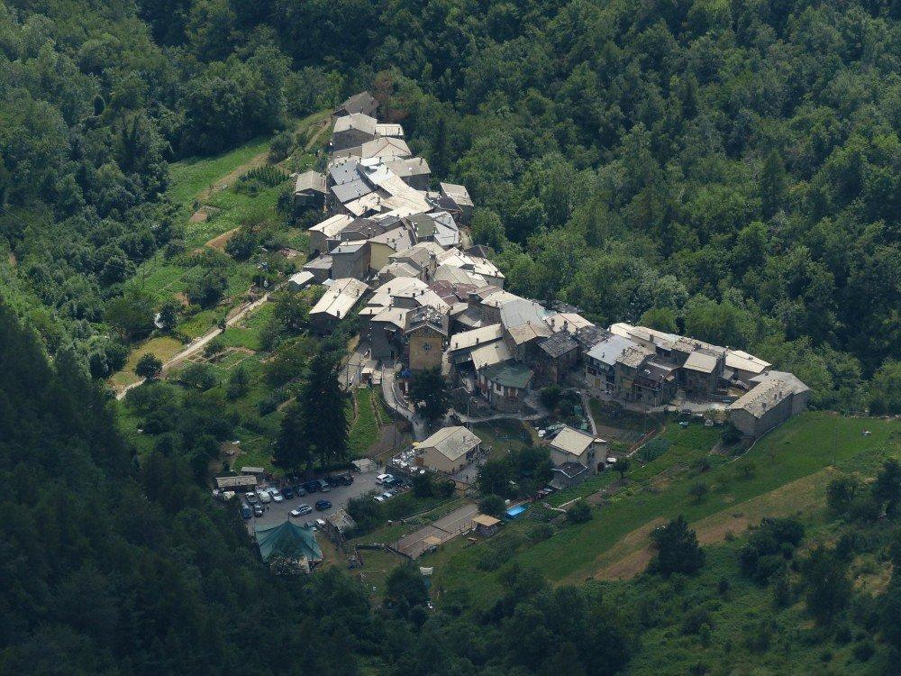 View of Verdeggia village in liguria, italy.