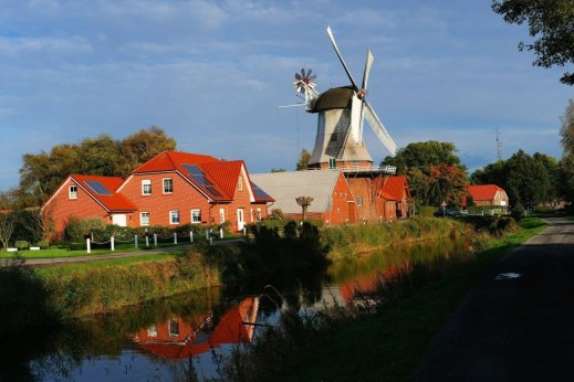 WINDMILL ON FARM LOWER SAXONY GERMANY