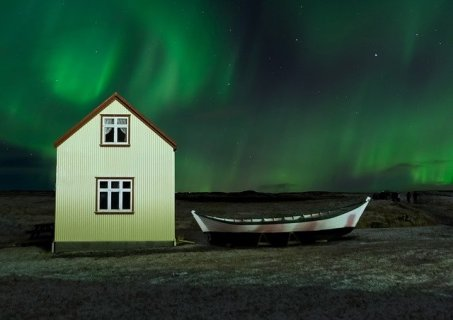 Northern lights at a farmstay in Iceland