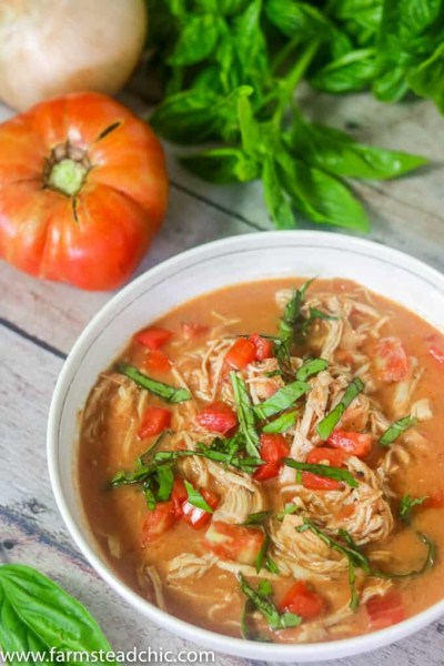 Take just 10 minutes to prep this Paleo & Whole30 Creamy Chicken Tomato Soup, and let your slow cooker do the rest!It's the perfect cold weather busy weeknight meal.