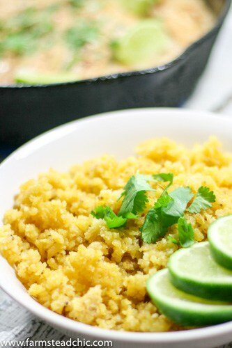 This Paleo and Whole30 Plantain Rice has a texture that's on point and a very subtle tropical flavor which offsets spicy foods perfectly. Gluten free, grain free.Serve it under or alongside everything you love or alone with fresh cilantro and lime juice.