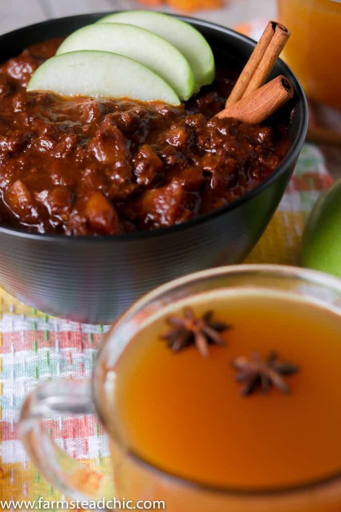 This Paleo and Whole30 Apple Cider Chili will warm your bones. Sweet apple cider, apples and cinnamon combine with chili powder for the perfect fall treat!