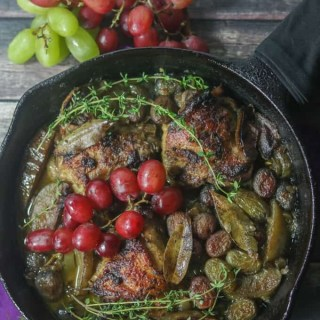 This Paleo and Whole30 Chicken Thighs with Roasted Apples and Grapes is a quick and easy one-skillet wonder perfect for a chilly autumn weeknight.