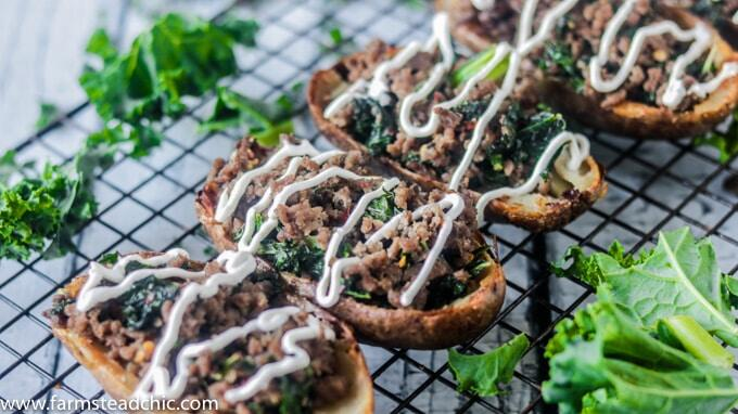These crispy, buttery Dairy-Free and Whole30 Zuppa Toscana Potato Skins are packed full of Italian sausage and kale, bursting with flavors of garlic, Italian seasoning and crushed red pepper.