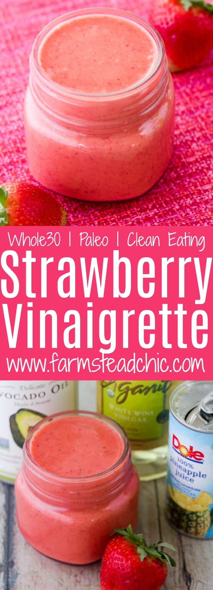 Get this this Paleo and Whole30 Strawberry Vinaigrette Dressing on your springtime dinner table! Made with only fresh strawberries, white wine vinegar, avocado oil and 100% pineapple juice, this fresh summer dressing is cheap, simple and easy. Primal, dairy free and vegetarian + vegan friendly!