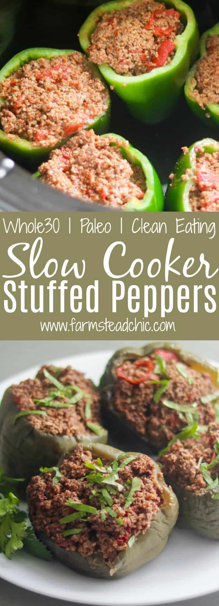 These Paleo and Whole30 Slow Cooker Stuffed Peppers are juicy + full of flavor. So easy and healthy - the perfect weeknight dinner. Low Carb, Primal, Keto, grain-free, gluten-free and dairy-free!