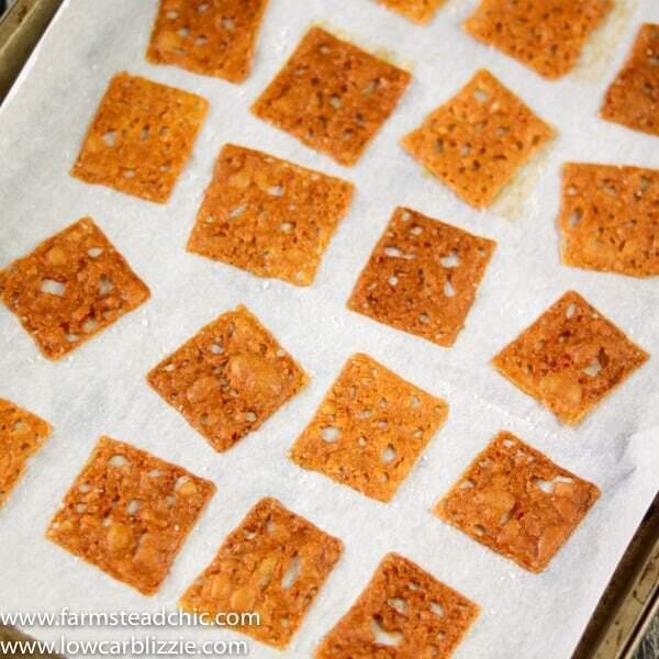 keto crackers on a sheet pan