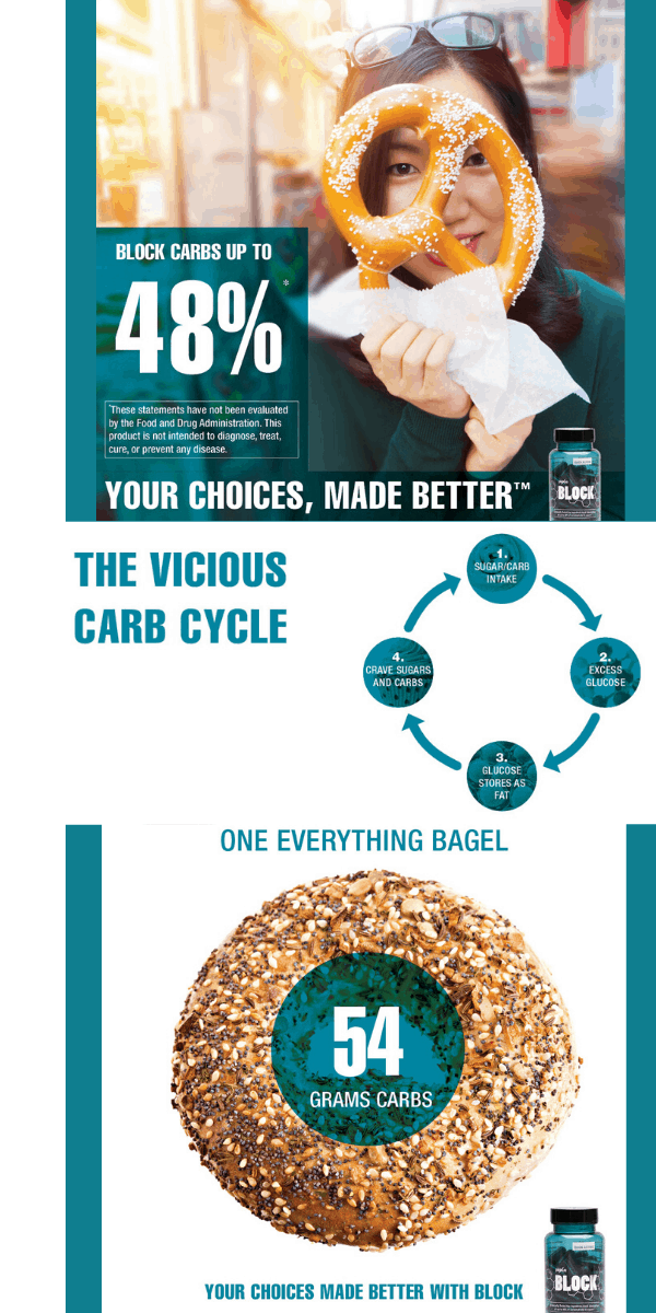 Wouldn't it be nice to block some of the absorption of the carbs and sugar you consume? Now you can! Block up to 48% of carbs and sugars you consume with Plexus Block!Plexus Block contains clinically-tested ingredients to work immediately to block the absorption of up to 48% of carbs and sugars from your meal - without blocking the absorption of any beneficial nutrients.*