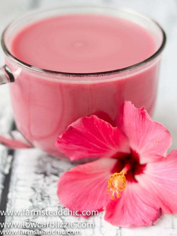 Bring some warm weather cheer to your chilly fall with this Low Carb, Keto Hibiscus Tea Latte with Whole30 and Paleo Options. With only 2-3 ingredients, you'll be dreaming of the tropics while snuggled up by your fireplace in no time. Dairy-free, refined sugar-free, guilt-free!