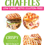 The BEST Chaffle Recipe! This Keto Chaffle (or waffle bread) is tasty without being too eggy or cheesy, firm enough to hold all of your toppings and crispy, not soggy. The perfect keto bread substitute! #ketochaffle #chaffle #bestchafflerecipe #farmsteadchic