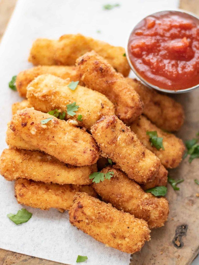 Keto Mozzarella Cheese Sticks - Gluten Free Fried Cheese Sticks