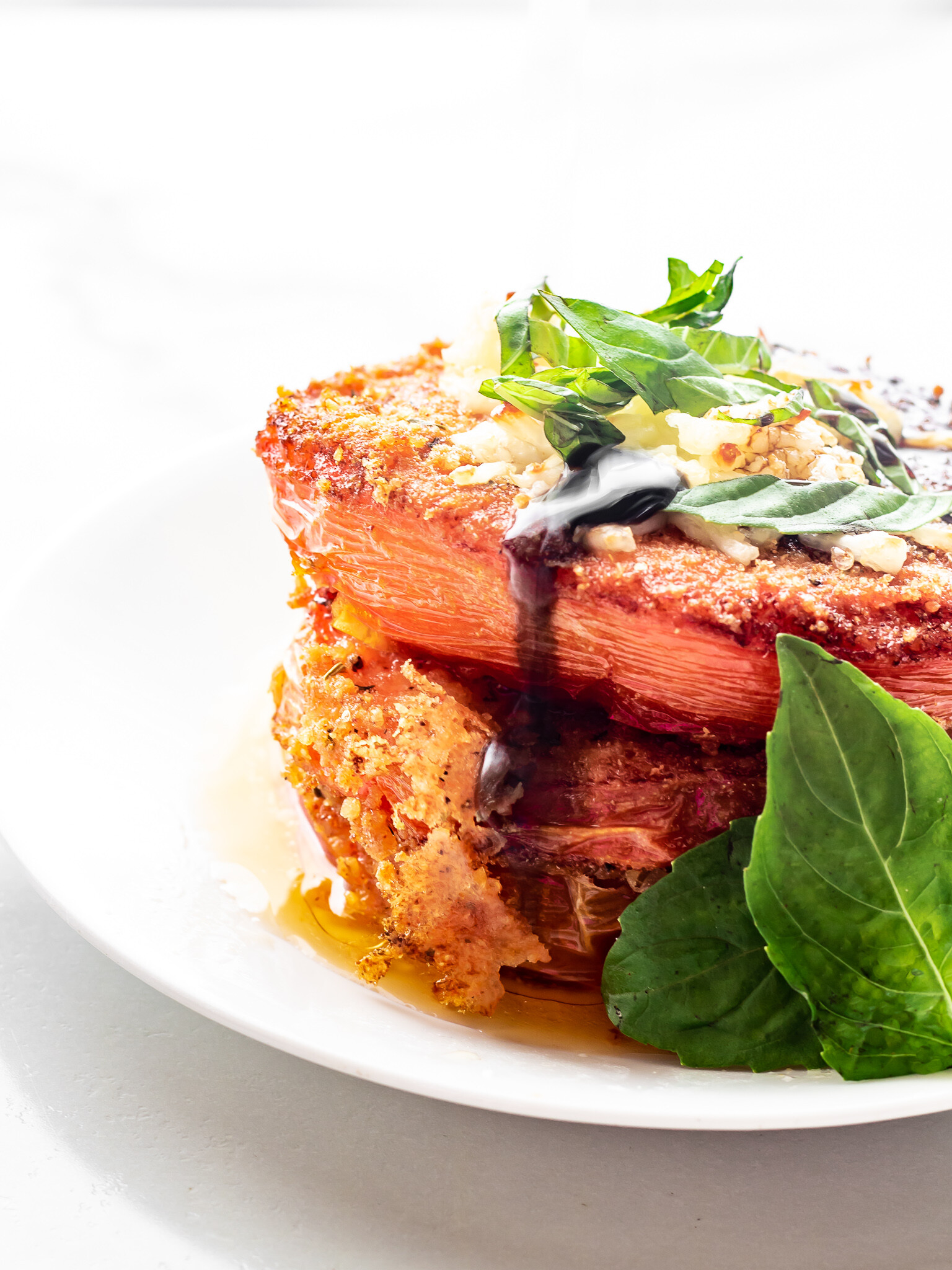 Low Carb, Keto Fried Tomatoes - Mozzarella, Basil & Balsamic Reduction