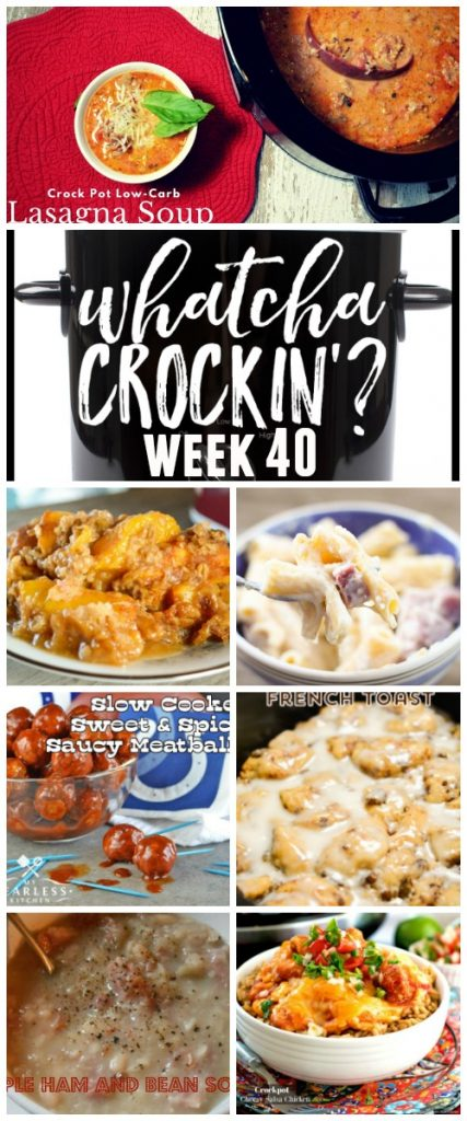 This week's featured recipes include Ham and Cheese Pasta Bake, Crock Pot Cinnamon Roll French Toast, Crock Pot Low Carb Lasagna Soup, Crock Pot Peach Cobbler, Crockpot Cheesy Salsa Chicken, Slow Cooker Sweet and Spicy Saucy Meatballs, Crockpot Simple Ham and Bean Soup.