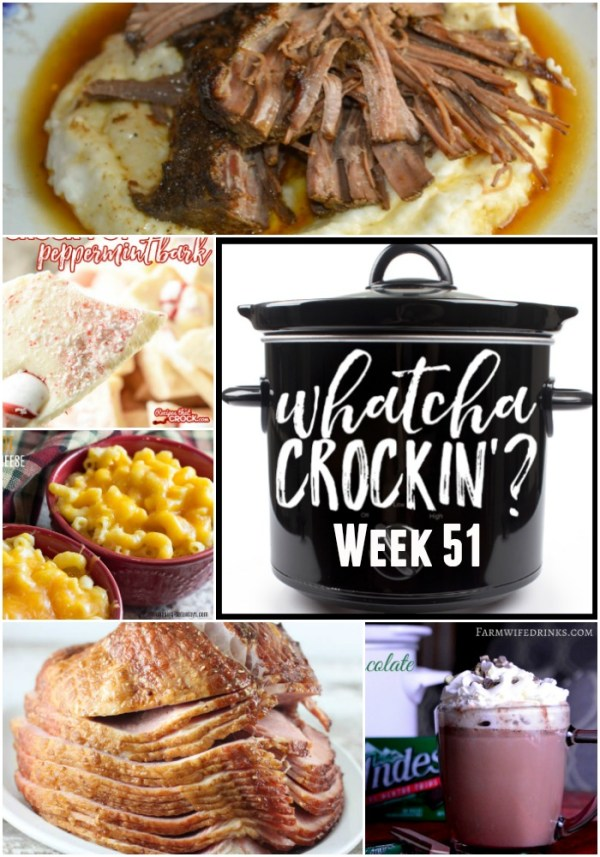 This week's Whatcha Crockin' crock pot recipes include Tasty Slow Cooker Cheeseburger Soup, Slow Cooker Honey Dijon Ham, Crock Pot Beef Brisket, Crock Pot Andes Mint Hot Chocolate, Crock Pot Peppermint Bark, Crock Pot Taco Soup, Instant Pot Macaroni and Cheese and much more!