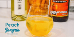 Peach Sangria is a crisp white wine sangria made with frozen peaches, peach schnapps, and vodka mixed with a bottle of white wine.
