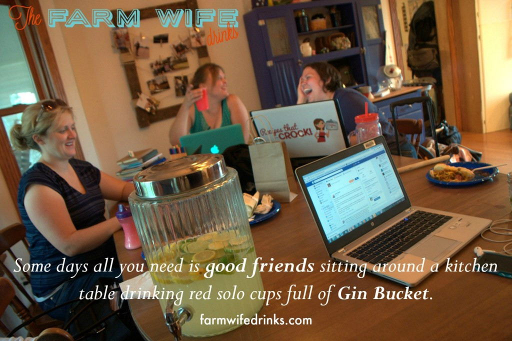 Some days all you need is good friends sitting around a kitchen table drinking red solo cups full of Gin Bucket.