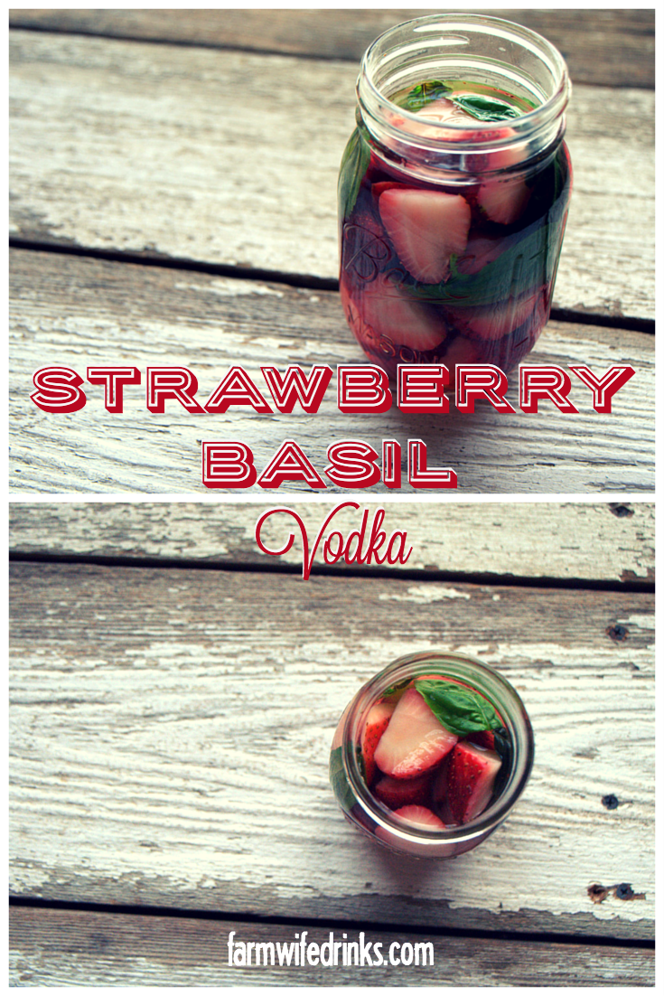 Strawberry basil infused vodka is an easy way to make flavorful cocktails without having the drinks be too fruity or sweet.