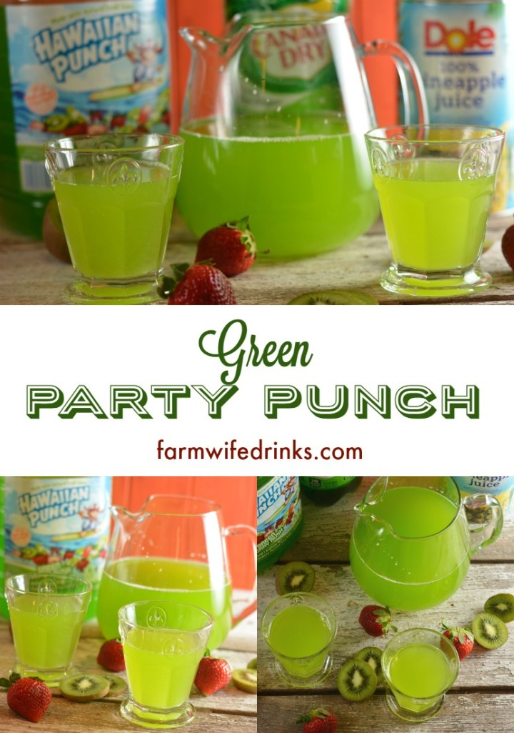 Looking for an easy green punch? This 3 ingredient green punch recipe is easy to make with Hawaiian punch, pineapple juice, and ginger ale and sure to be a favorite at a green-themed party.