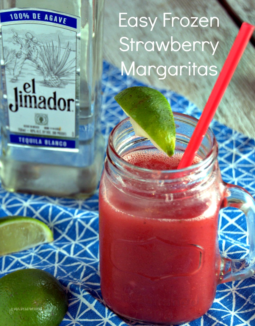 Frozen strawberries, limes, tequila and a blender will have you are on the way to an easy frozen strawberry margarita recipe.