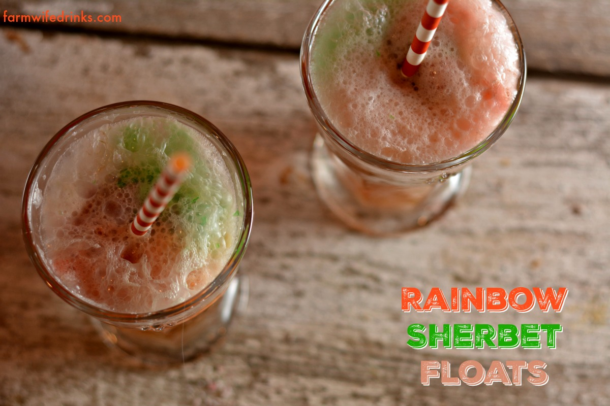 A fun party drink is always floats. Individualized cups of rainbow sherbet make these rainbow sherbet floats fun and easy to make for any party.