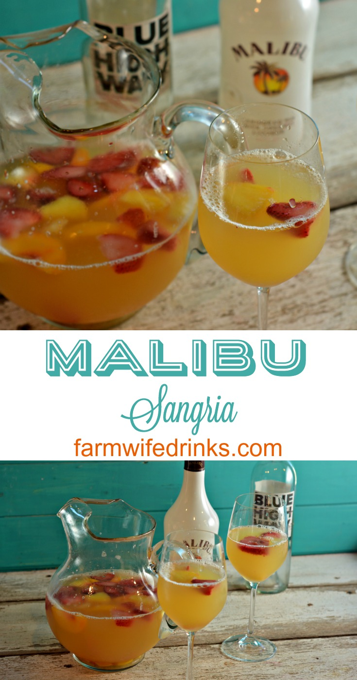 This Malibu sangria recipe is simple and perfect for a summer day pool drink.