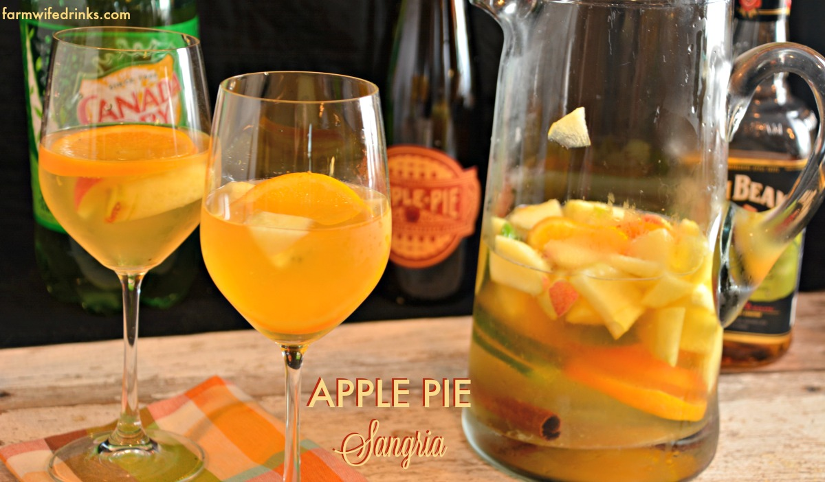 The flavors of fall are wrapped into one big pitcher of apple pie sangria.