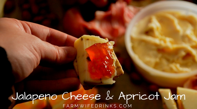 A perfect appetizer is pepper jack cheese with apricot jam on a crunchy cracker. It is the perfect combination of flavors.
