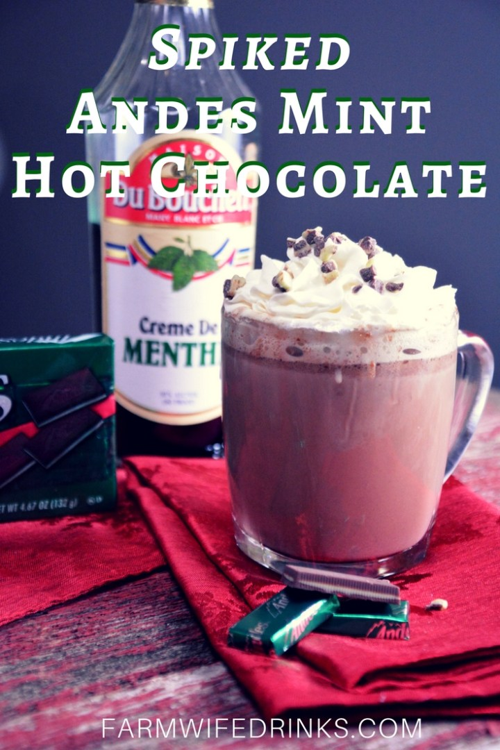 Take this crock pot Andes mint hot chocolate up a notch with the addition of creme de menthe alcohol. A much more minty taste with a little bit of a kick.