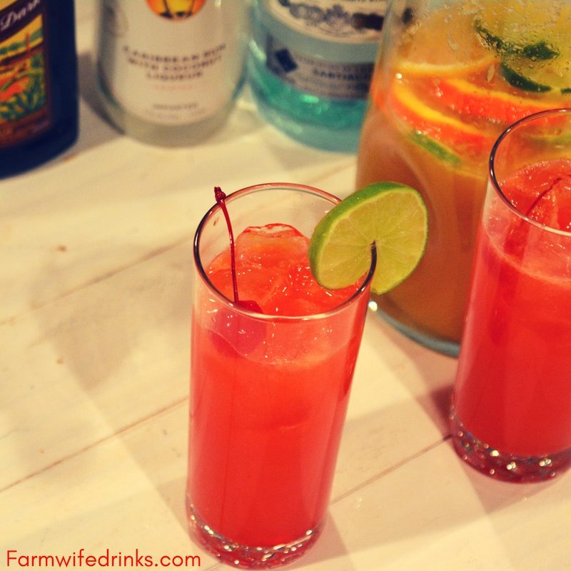 3 rum punch is the sweet combination of pineapple, lime and orange juices with dark, white, and coconut rums with just a hint of grenadine for a sweet finish. Seriously, this rum punch will be a a great drink recipe to make for a crowd.