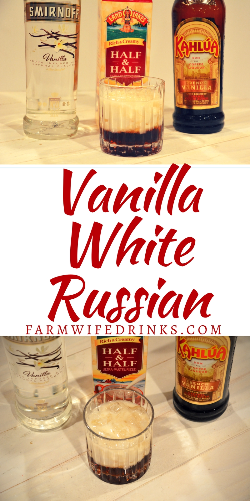 The combination of vanilla vodka and vanilla Kahlua make this Vanilla White Russian recipe a perfect evening version of the morning vanilla latte.