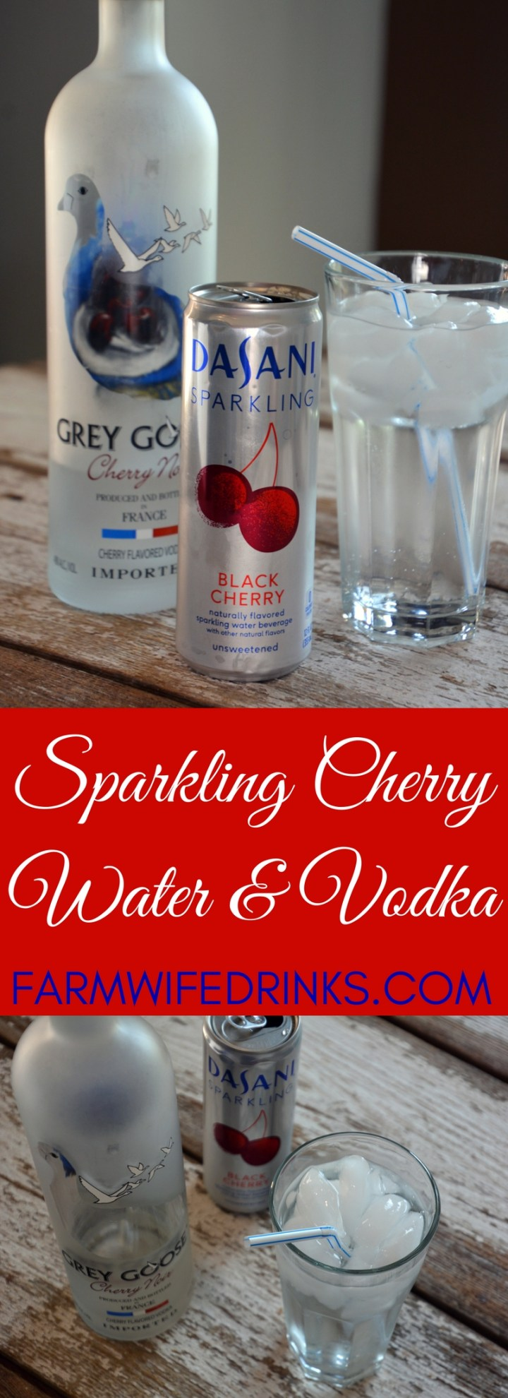 Sparkling Cherry Water and Vodka