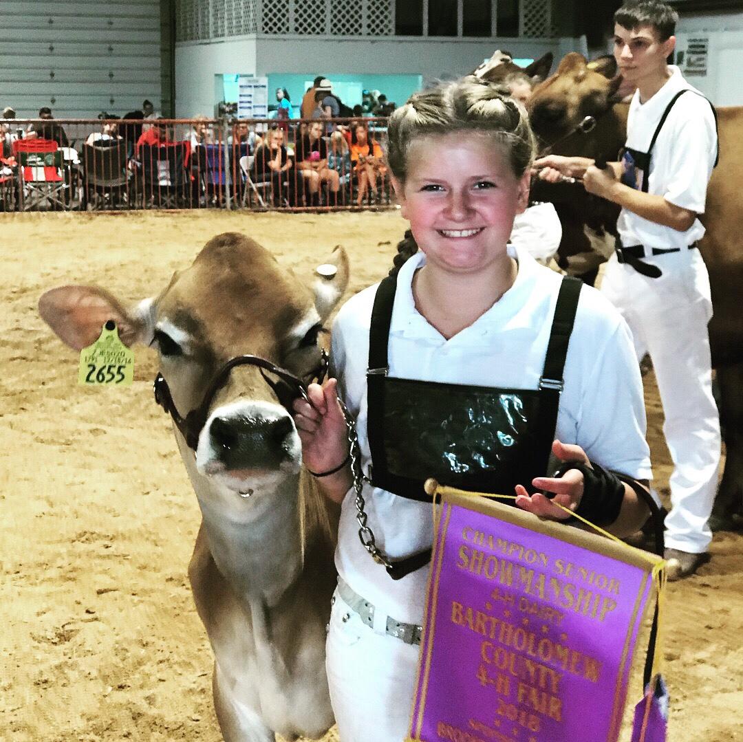 Winning showmanship with her Jersey heifer