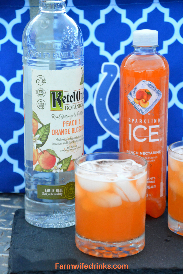 It is a low-carb sparkling peach cocktail with Ketel One Peach and Orange Blossom vodka combined in peach nectarine Sparkling Ice.
