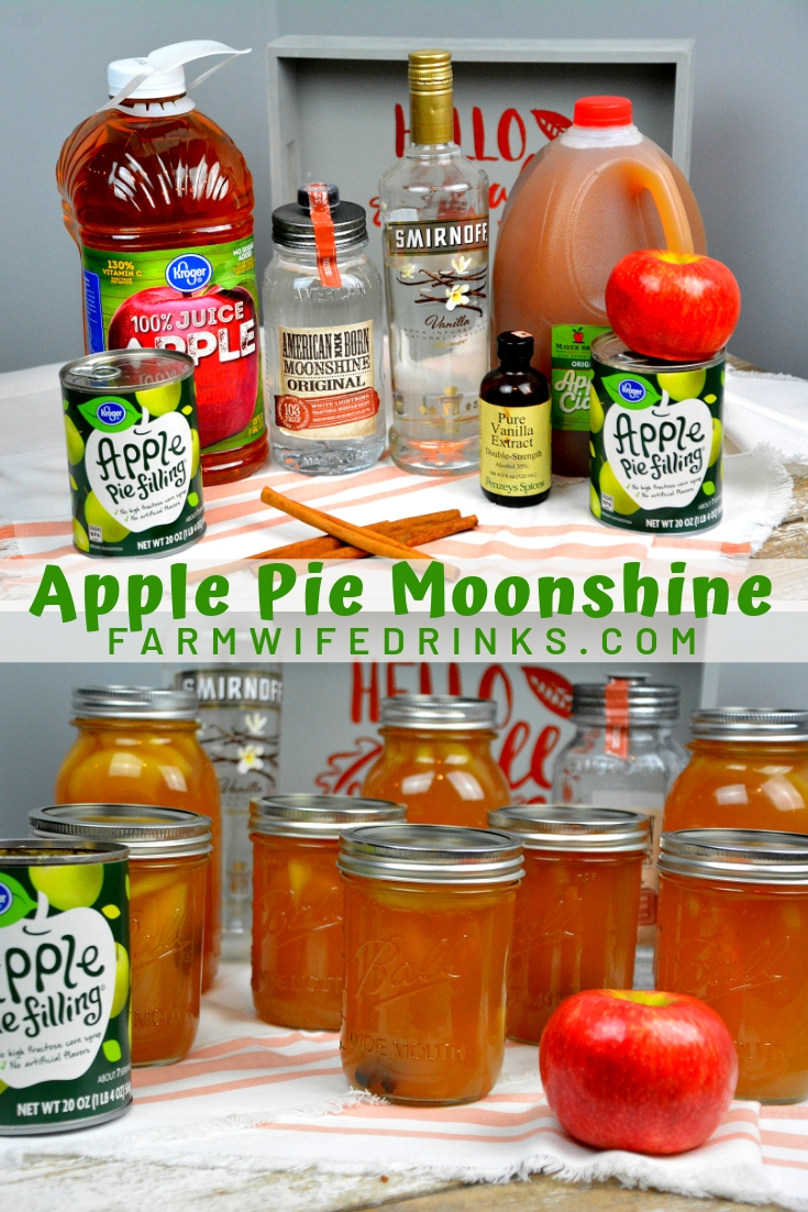 Apple pie moonshine combines apple cider and juice with apple pie filling with cinnamon sticks and